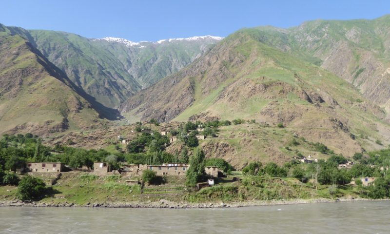 View over to Afghan village across the Panj river