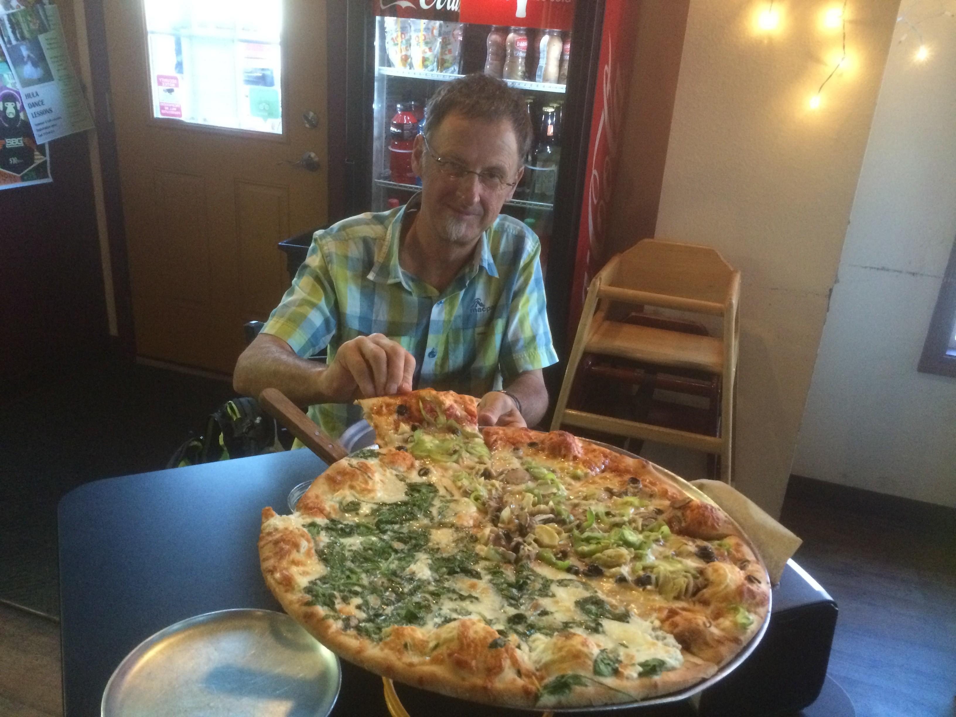 Holy cow – an 18″ pizza is quite the mouthful. Did us for dinner and lunch the next day.